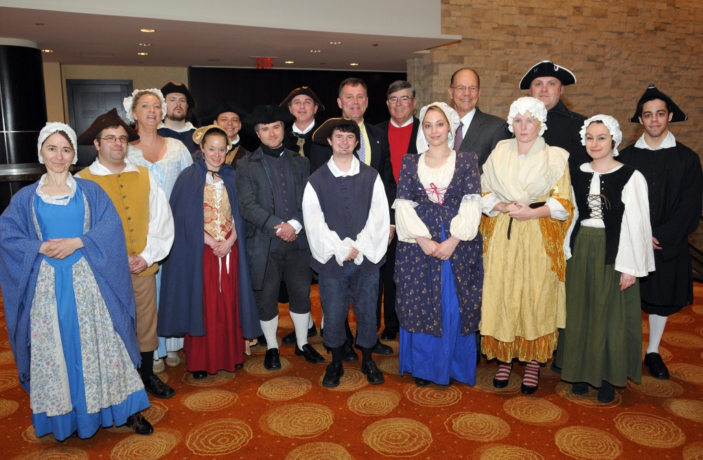 colonial actors at tea party groundbreaking