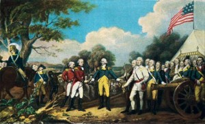 The surrender of General John Burgoyne at the Battle of Saratoga.