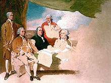 This is Benjamin West's painting of the representatives from American and Britain who signed the Treaty of Paris. Jay, Adams, Franklin, Laurens, and Temple are pictured here. But the British delegates refused to be painted, so the painting was never finished.