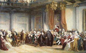 Benjamin Franklin addressing the British Parliament.