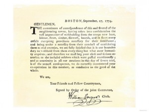 A letter from the Boston Committee of Correspondence.